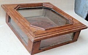 Antique Wall fixing Wooden Box Multi Use small storage Display Decor Glass Door
