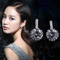 Crystal Rhinestone Jewelry Hook Dangle Earrings Ear Stud Silver Plated