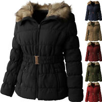 Womens PADDING JACKET FUR LINED Coat Quilted Insulated Puffer Winter Parka Belt