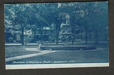 1908 post card Fountain in West Ave Park Lockport NY to Olive Moorman Williamson