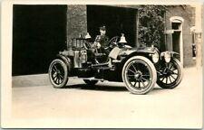 "1910s Rppc Real Photo Postcard Fire Station Engine w/ Pit Bull Dog ""Parsons, Ks"""