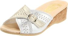 Women's Worishofer Comfort Slide On Sandal Silver / Gold 251