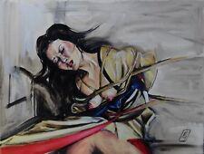 Original Bild Gemälde Kinbaku Shibari Bondage Japan Akt signiert Unikat 40x30cm