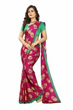 Pink Peacock Kalamkari Printed Saree Indian Wedding Designer Sari