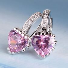 MODOU 18K White Gold Filled Heart Pink Sapphire Crystal Leverback Hoop Earrings