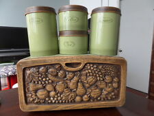 Vintage Woodbury 1970 Avocado & Faux wood plastic Canister Set and Bread Box