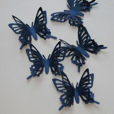 15 LARGE 3D NAVY PEARL BUTTERFLIES. WEDDING STATIONERY, CARDS, CRAFTS, TOPPERS