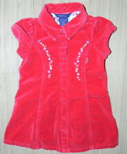 GUESS BABY Girls Red Velvet Embroidered Floral DRESS Size 18 Months