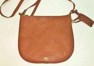 FOSSIL GWEN TOP ZIP SADDLE BROWN LEATHER CONVERTIBLE CROSSBODY,HAND BAG,PURSE