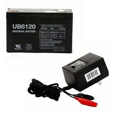 UPG 6VOLT 12AH RECHARGEABLE TOY ALARM FEEDER 6V SEALED BATTERY & WALL CHARGER
