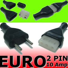 Euro 2 Pin Round Plug & Socket Black Rubber Wire cableConnectors terminal NEW