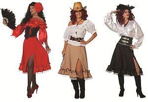 Rock Bluse Pirat Cowgirl Spanierin Flamenco Cowboy Damen Kostüm Hippie Disco