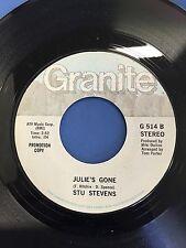 STU STEVENS JULIE'S GONE & GOD FORSAKEN LAND VINTAGE ORIGINAL 45 RPM RECORD