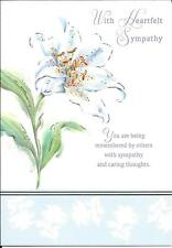 SYMPATHY CONDOLENCE CARD - WITH HEARTFELT SYMPATHY - WITH POEM BY HS HOLLAND