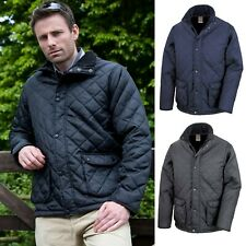 Men's Quilted Jacket Diamond Pattern Padded Coat Country Gent Work Wear Plain