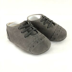 Baby Girls Sneakers Faux Suede Slip On Gray Soft Sole Size 3