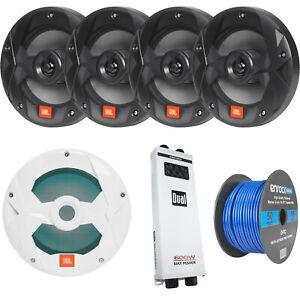 "4x JBL 8"" Black Marine Speakers, 10"" LED Subwoofer, 5-Ch Amplifier, Wire"