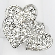 Hearts Cocktail Ring Wedding Party Costume Jewelry Crystal Clear Silver Size 9