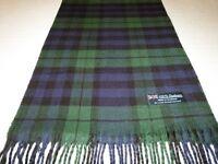 New 100% Cashmere Scarf Soft Green Blue Black Scotland Wool Check Plaid Wrap K14