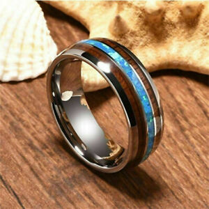 Exclusive Koa Wood & Abalone Shell inlay Tungsten Carbide Wedding Band Ring UK
