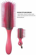 DENMAN 9 Row Pink Handle Brush + Keyring Brush