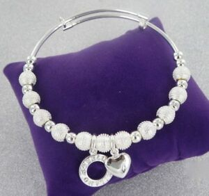 STERLINA MILANO SILVER BEADED HEART CHARM STACKING BEAD BANGLE BRACELET GIFT