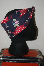 navy teapots polka dots head scarf rockabilly 50s pin up hair wrap birds tiki