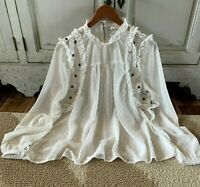 S Boho Lace Floral Embroidered Peasant Blouse Vtg 70s Insp Top Womens SMALL NWT
