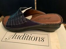 Auditions - Blue Leather Slide Espadrilles Size 7.5W