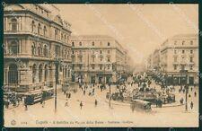 Napoli Città Piazza della Borsa Tram PIEGA cartolina XB5265