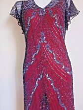 NEW VINTAGE SEQUIN RED CHRISTMAS KNEE SMART DRESSES PARTY 18 UK WEDDING EVENNING