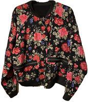 TORRID Women's BLACK-RED Floral Roses Top Bomber Reversible Jacket Size 1X