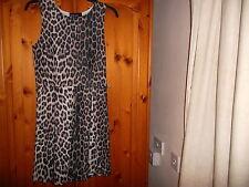 Brown animal print sleeveless skater dress, BOOHOO, size 10