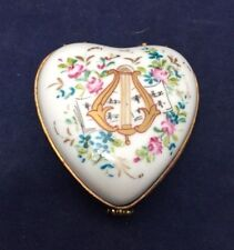 Beautiful Limoges France Chamart Heart Shaped Trinket Box with Harp and Flowers