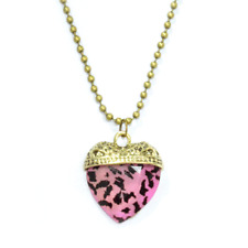 UK Heart crystal leopard pink animal print vintage retro Pendant Necklace Gothic
