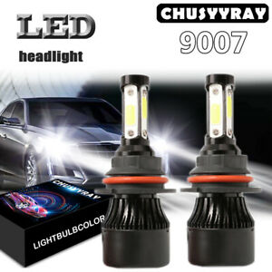 FOR FORD F150 1992-2003 F250 1992-1999 9007 4-Sides LED Headlights Hi/Lo Bulbs