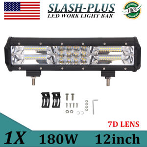 7D Tri-Row 12inch 180W LED Light Bar Spot Flood Combo SUV Tractor Car 4WD PK 72W