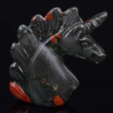 "2"" Bloodstone Unicorn Figurine Healing Crystal Natural Gemstone Statue Decor"