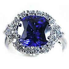 *STUNNING* TANZANITE simulated BRILLIANT CZ RING_SZ-4__925 STERLING SILVER_NF
