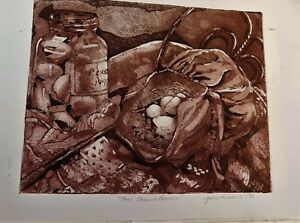 Sunbonnet and Eggs - original hand pulled aquatint print  etching