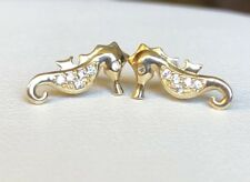14k Yellow Gold Seahorse Screwback Stud Earrings with CZ
