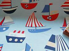 SOFT FURNISHING Cotton Canvas BLUE KIDS BOAT NAUTICAL Fabric by HALF METRE #59