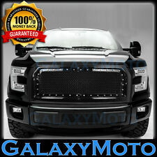 15-17 Ford F150 Chrome Rivet Studded+Gloss Black Mesh Grille Grill+Shell 2017