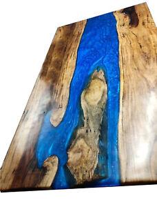 Decorative Blue Resin Furniture Dining,Living,Garden Epoxy Wooden Walnut Table