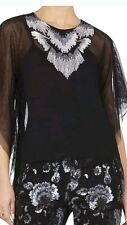 "BCBG ""Lora"" Caftan Party Shirt Top  L $268  black  silver"