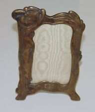 Antique Nouveau Brass Photo Picture Frame Stand Alone Home Decor Desk Display