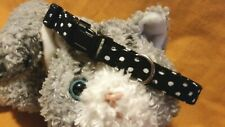"""""""New"""" Fabric Cat Collar - White Polka Dots On Black - Sophisticated Style"""