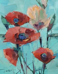 JOSE TRUJILLO Oil Painting IMPRESSIONISM LARGE CONTEMPORARY 16X20 FLOWERS NR