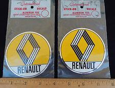 2 Vintage RENAULT International Aluminum Foil Stick-On Decals * Made in Holland