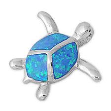 """FREE SHIP!  Blue Australian Opal Turtle .925 Sterling Silver Pendant .75"""""""